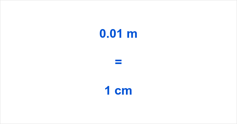 0.01 m to cm
