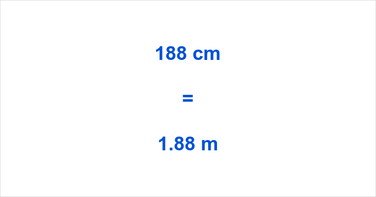 188 cm to m