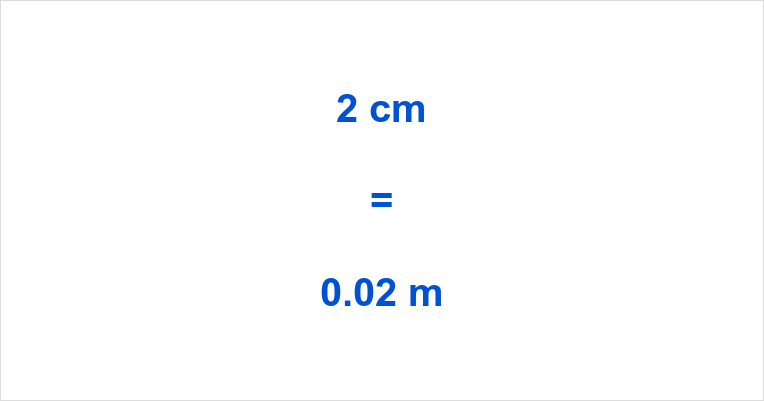 2 cm to m