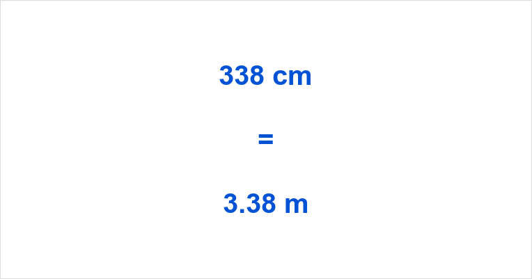 338 cm to m